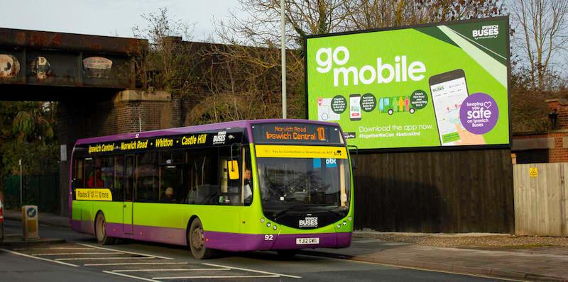 Ipswich buses advertising of UrbanThings App
